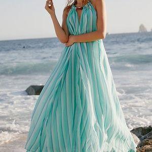 NEW Free People turning tides Maxi blue dress Stri